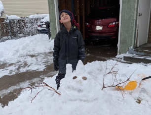 In the midst of getting better, we did have one wonderful snow day where we made this snow-Boov in homage to the movie Home. And then had to nap all afternoon to make up for the effort.